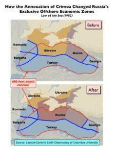 ΑΟΖ Ρωσσίας και Ουκρανίας πριν και μετά την προσάρτηση της Κριμαίας