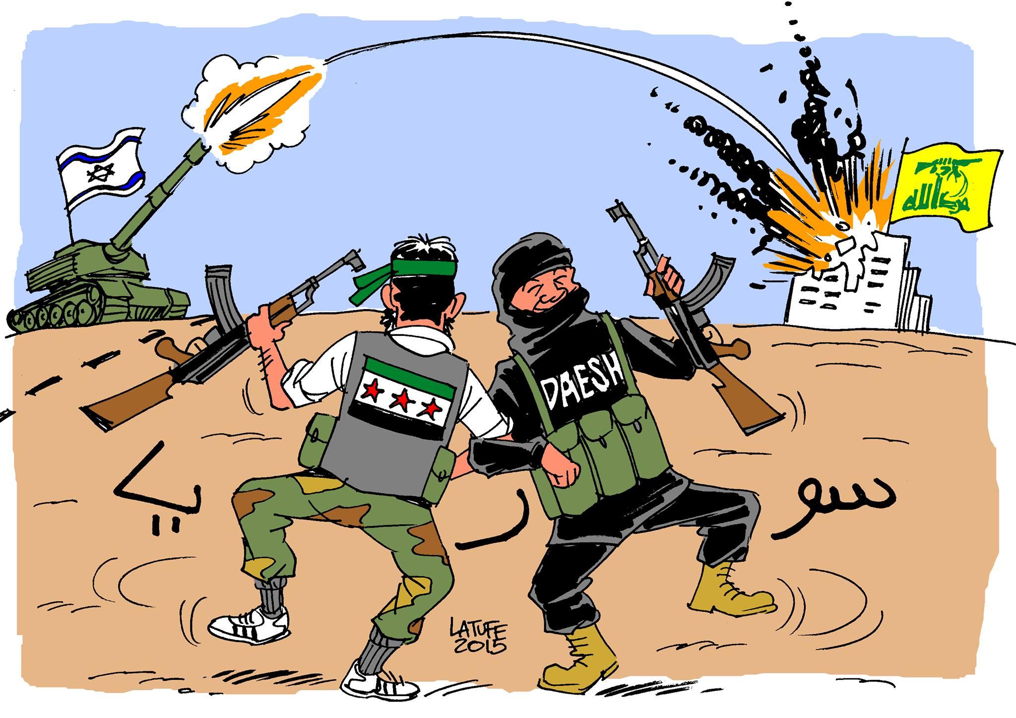 οιος πανηγυρίζει για τον ισραηλινό πύραυλο που σκότωσε στέλεχος της Χεζμπολά στη Δαμασκό; Μα φυσικά οι αντίπαλοι του συριακού καθεστώτος, δηλαδή το Ισλαμικό Κράτος και οι «μετριοπαθείς» ισλαμιστές, εναντίον των οποίων μάχεται και η Χεζμπολά (σκίτσο του Latuff).