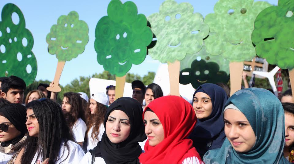 Στιγμιότυπο από την κινητοποίηση στην Βηρυττό του Λιβάνου