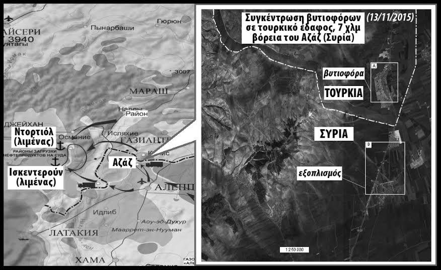 Απόσπασμα από τους χάρτες και τις αεροφωτογραφίες που έδωσαν στη δημοσιότητα οι Ρώσοι για να στοιχειοθετήσουν τις κατηγορίες τους για συνεργασία της Τουρκίας με τους Τζιχαντιστές. Εδώ φαίνεται ο ένας από τους τρεις βασικούς δρόμους περάσματος του πετρελαίου από συριακά εδάφη, που βρίσκονται υπό τον έλεγχο του Ισλαμικού Κράτους και του Μετώπου Αλ Νούσρα, στο τουρκικό έδαφος. Αυτή η διαδρομή έχει ως προορισμό τα κοντινά τουρκικά λιμάνια, απ' όπου το πετρέλαιο μεταφέρεται σε τρίτες χώρες.