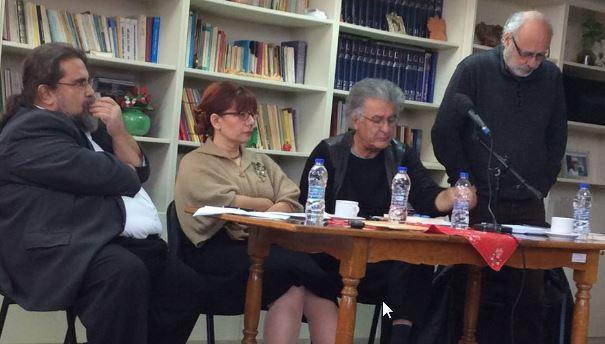 Από την πρόσφατη παρουσίαση του βιβλίου στον Βύρωνα (13 Δεκεμβρίου). Αριστερά ο συγγραφέας, και ακολουθούν η Μαρώ Τριανταφύλλου (ιστορικός), ο Χάρης Κολτσίδας (συντονιστής της συζήτησης) και ο Βασίλης Ξυδιάς (θεολόγος).