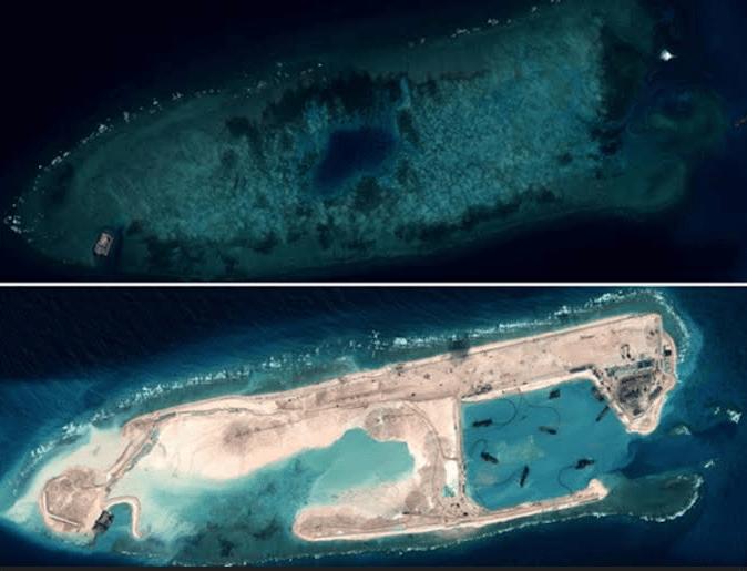 Αυτό που κάποτε ήταν ο κοραλλιογενής ύφαλος Fiery Cross μέσα σε ελάχιστο διάστημα μετατράπηκε σε στρατιωτική βάση από το Πεκίνο. Πολλοί ακόμη τέτοιοι ύφαλοι και μικροσκοπικές νησίδες έχουν σήμερα μετατραπεί σε «πραγματικά» νησιά, καθώς τα κράτη της περιοχής διεκδικούν τον έλεγχο της Θάλασσας της Νότιας Κίνας