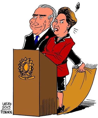 Προφητικό το περσινό σκίτσο του Λατούφ, ο οποίος ήταν ανάμεσα σε αυτούς που επέκριναν τη συμμαχία της Ντίλμα Ρούσεφ με τον «κεντρώο» Μισέου Τεμέρ. Ο μέχρι προχθές αντιπρόεδρος της Βραζιλίας τραβάει και ανοιχτά πλέον το χαλί κάτω από τα πόδια της Ρούσεφ.