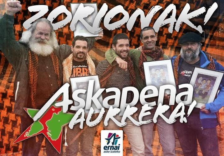 Αφίσα της νεολαιίστικης οργάνωσης Ernai με τους πέντε Βάσκους αγωνιστές της Askapena, που ήταν για χρόνια υπόδικοι ως «τρομοκράτες» και αθωώθηκαν τον περασμένο μήνα. Στο άκρο αριστερά ο Βάλτερ Βεντελίν, παλαίμαχος του βασκικού κινήματος διεθνιστικής αλληλεγγύης
