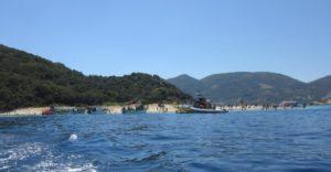 Πίσω από τα δεκάδες σκάφη που πηγαινοέρχονται είναι η αμμουδιά που οι χελώνες πρέπει να αφήσουν τα αβγά τους!