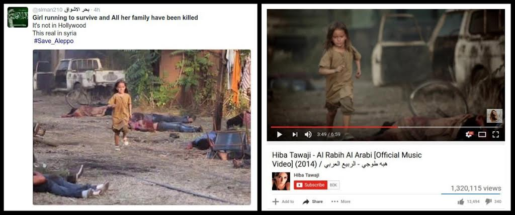 Αριστερά, μια από τις δημοσιεύσεις που έκαναν θραύση αυτήν την εβδομάδα στο τουίτερ: «Κορίτσι τρέχει να σωθεί ενώ όλη η οικογένειά της έχει σκοτωθεί. Δεν είναι σκηνή από το Χόλιγουντ, συμβαίνει στη Συρία. Σώστε το Χαλέπι». Δεξιά, η πραγματική πηγή της φωτογραφίας: ένα βιντεοκλίπ της δημοφιλούς Λιβανέζας τραγουδίστριας Χίμπα Ταουάζι. Τι να μας πει το Χόλιγουντ…