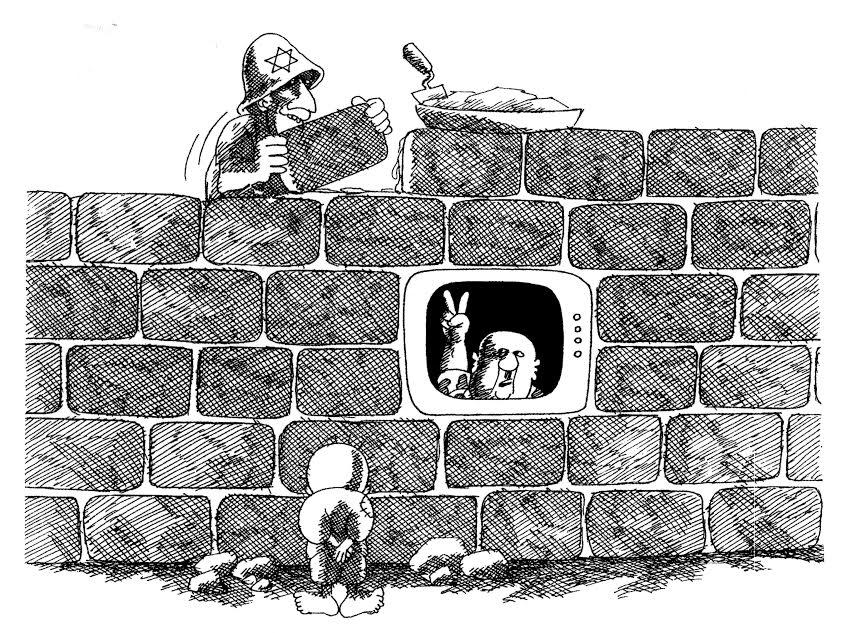 Ο Χάνταλα, το ξυπόλητο παιδί-πρόσφυγας με τα κουρελιασμένα ρούχα, παρατηρεί την παλαιστινιακή ηγεσία να διακηρύσσει τη νίκη από την τηλεόραση, ενώ το Ισραήλ συνεχίζει να υφαρπάζει την παλαιστινιακή γη και να χτίζει παράνομους οικισμούς. Το γεγονός ότι αυτό το σκίτσο του 1984 παραμένει τραγικά επίκαιρο λέει πολλά… («Ένα παιδί στην Παλαιστίνη», σκίτσα του Naji al-Ali με εισαγωγή του Joe Sacco, εκδόσεις Α/συνεχεια).