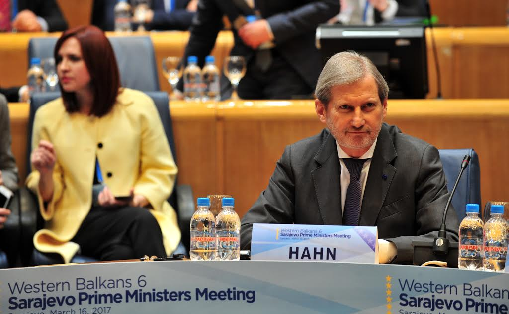 """EU Commissioner for Enlargement and Neighborhood policy, Johannes Hahn is seated at the begining of """"Western-Balkan 6"""" - Prime Ministers Meeting, in Sarajevo, on March 16, 2017. Commissioner Hahn arrived in an official visit to Bosnian capital to participate in sessions of Western Balkans mini-summit, taking place on March 16-17, in Bosnian capital."""
